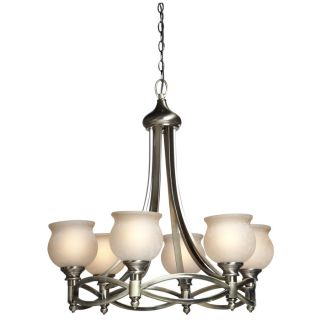 NEW 6 Light Chandelier Lighting Fixture, Antique Brass, Beige Glass
