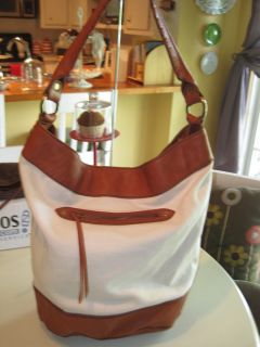 Lucky Brand Road Child X  Large Leather/Canvas Bucket Bag/Boho