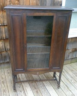 Antique China Cabinet Display Case Walnut Old Original Glass 1920s or