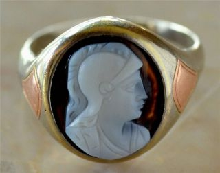 Rare 1860s Antique Victorian Edwardian 14k gold Hard Stone Cameo Ring