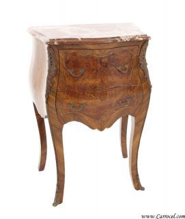 Antique Marble Top Louis XV Burled Walnut End Table Nightstand