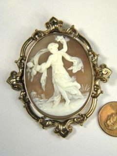 Antique 9K Gold Carved Shell Cameo Pin Brooch Dancing Muse Goddess