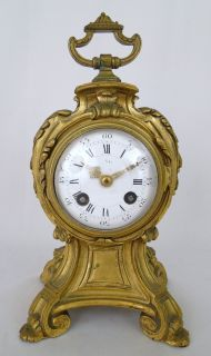 Antique 19C. French Baroque Gilt Bronze Mantle Clock with Porcelain