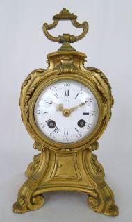 Antique 19C. French Baroque Gilt Bronze Mantle Clock with Porcelain