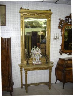 Antique French Gold Gilt Louis XVI Console Beveled Glass Mirror 10 ft