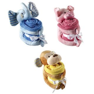 Hudson Baby Plush Animal Blanket Pig Monkey Elephant