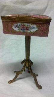Antique Vintage Porcelain Art Trinket Jewelry Box