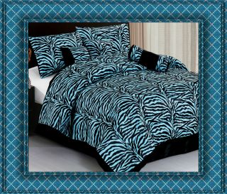 7pc Blue Zebra Animal Print Comforter Bedding Set King Bed in A Bag