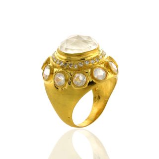 Diamond Moonstone Dome Ring Antique Style Jewelry Size 5 75