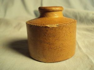 Antique Stoneware Pottery Ink Bottle Inkwell Cork Top