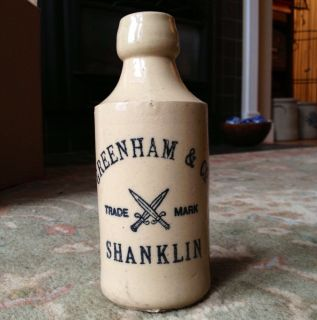 Antique Stoneware RARE Ginger Beer Bottle Greenham Co Shanklin CA 1900