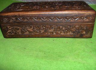 Vintage Hand Carved Teak Wood Trinket Jewelry Box Wood Hinged Lid Nice