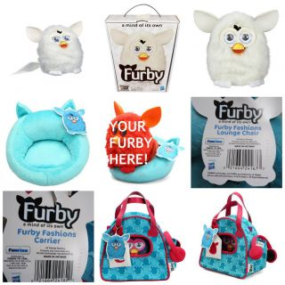 2012 Furby New in Box White w Blue Chair and Sling Bag New with Tags