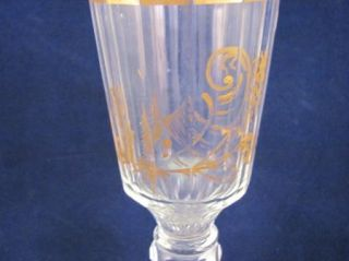 Antique Early 19thC Blown Glass Wine Flute Gilt Rim Handpaint Gold