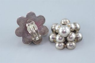 Vintage Mexican 925 Sterling Silver Round Button Flower Earrings