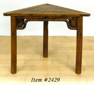 Antique Wood Corner Table Side Triangle Display Stand
