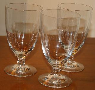 Fostoria Vintage Antique Wine Glasses Cut Patterns   Set of 3