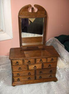 Vintage Wood Dresser Beveled Mirror Jewelry Box Japan