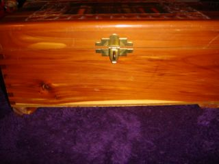Vintage Antique Hand Carved Cedar Wood Jewelry Cigar Trinket Box w