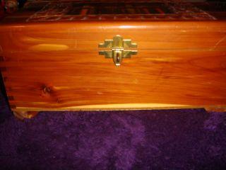 Vintage Antique Hand Carved Cedar Wood Jewelry Cigar Trinket Box w