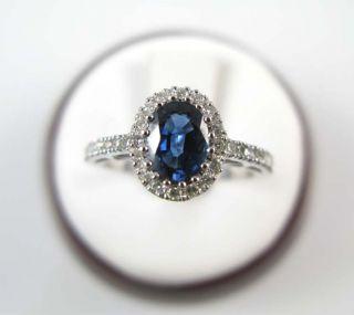 Ladies 18K White Gold Sapphire Diamond Ring 1 52ctw