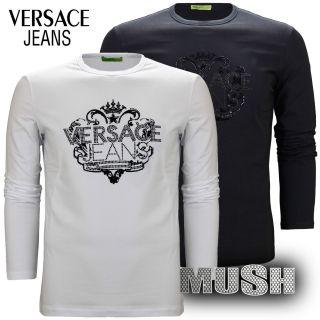 Versace Jeans Rhinestone & Velvet Logo Long Sleeve Stretch T Shirt