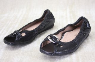Anyi Lu Harmony Flats Black Metallic Snake Skin Ballet Flats Shoes
