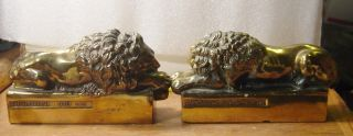 Vintage CAST METAL Lion BOOK ENDS Marked ANTONIO CANOVA 1757 1822