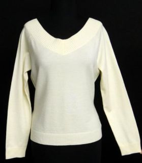 Ann Taylor Size L Ivory Merino Wool Poly Sweater LTWT Ribbed Trim
