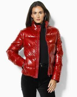 Ralph Lauren Antrim Red Glossy Logo Puffer Ski Jacket Coat L