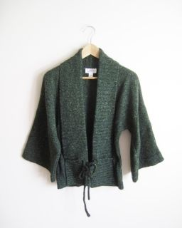 ANN TAYLOR LOFT Flecked Green Shawl Collar Kimono Sleeve Wool Sweater