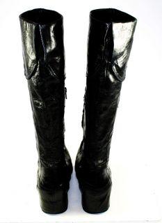 Apepazza Brand Black Leather Cuffed Zipper Knee High Fashion Boots