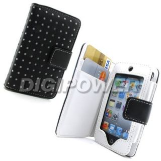 LEATHER POLKA WALLET CASE COVER FOR APPLE IPOD TOUCH 4G 4TH GENERATION