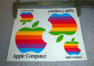 Wozniak 1983 Apple Computer Color Logo Peel Decal New Old Stock
