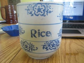 Antique Stoneware Crock Flow Blue Rice Flower Design Cobalt Blue