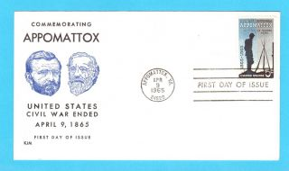 FDC 1182 APPOMATTOX STAMP FROM CIVIL WAR CENTENNIAL SET ON KJM