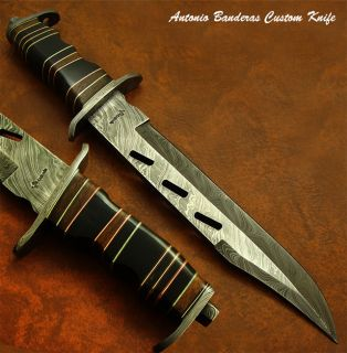 Antonio Banderas 1 OF A KIND CUSTOM DAMASCUS RANGER BOWIE KNIFE REAL