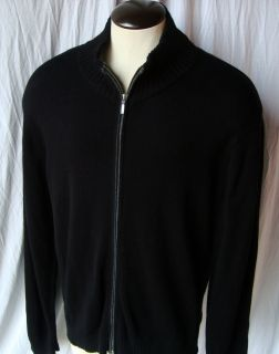 Apt 9 Cashmere Zip Cardigan Golf Sweater Mens XXL 2XL Black