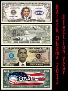 99 Barack Obama 2012 Election Novelty Dollar Bill Money