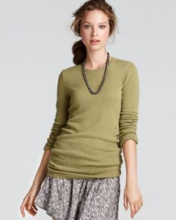 Aqua New Green Cashmere Crew Neck Ruched Long Sleeve Pullover Tunic