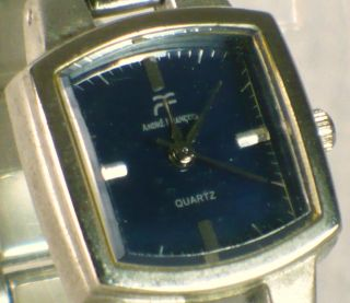 Anne Francis Blue Dial Womens Quartz Dress Watch, Brushed Stainless
