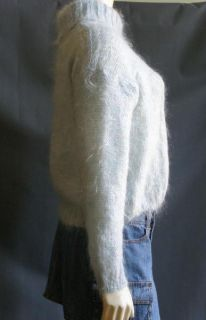 Next Light Aqua Blue Fuzzy Furry 78% Mohair Cropped Sweater Sm Made in