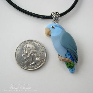 Blue Celestial Pacific Parrotlet Pendant Bird Clay Art Necklace