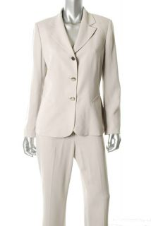 Anne Klein $280 Ivory Winter White Pant Suit 10 New