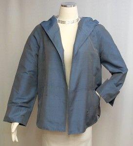 anne klein new york heather blue iridescent silk open style hoodie