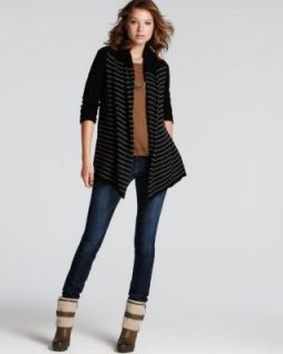 Aqua New Black Cashmere Striped Long Sleeve Open Front Cardigan