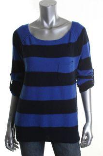 Aqua Blue Cashmere Striped Boat Neck Pocket Pullover Sweater M BHFO
