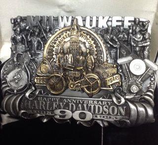 90 Anniversary Harley Davidson Belt Buckle