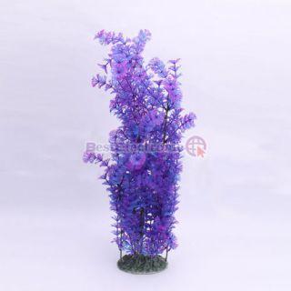 Aquarium Plastic Plant Fish Tank Ornament Decoration Large Purple