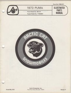 1973 Arctic Cat Snowmobile Puma Parts Manual